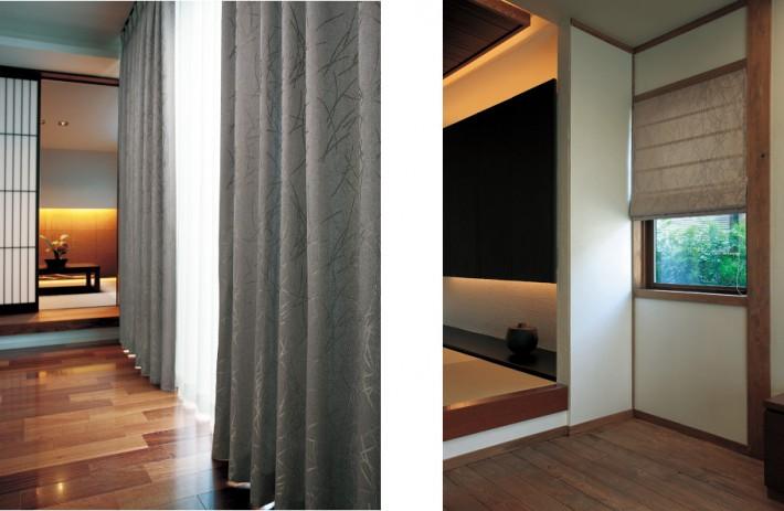 和室に合わせたカーテンの写真